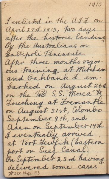War Diary Page 1 of Frank S. Coats