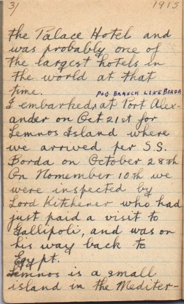 War Diary Page 3 of Frank S. Coats